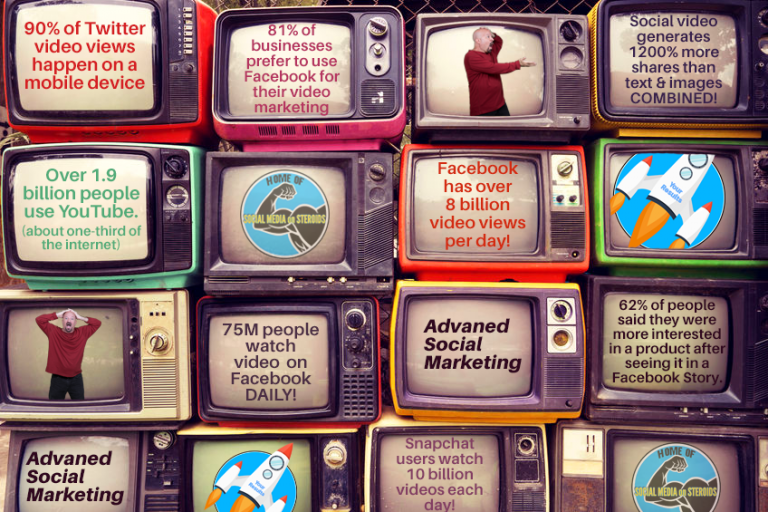 This image shows some mind-blowing stats of how much video is consumed on social.